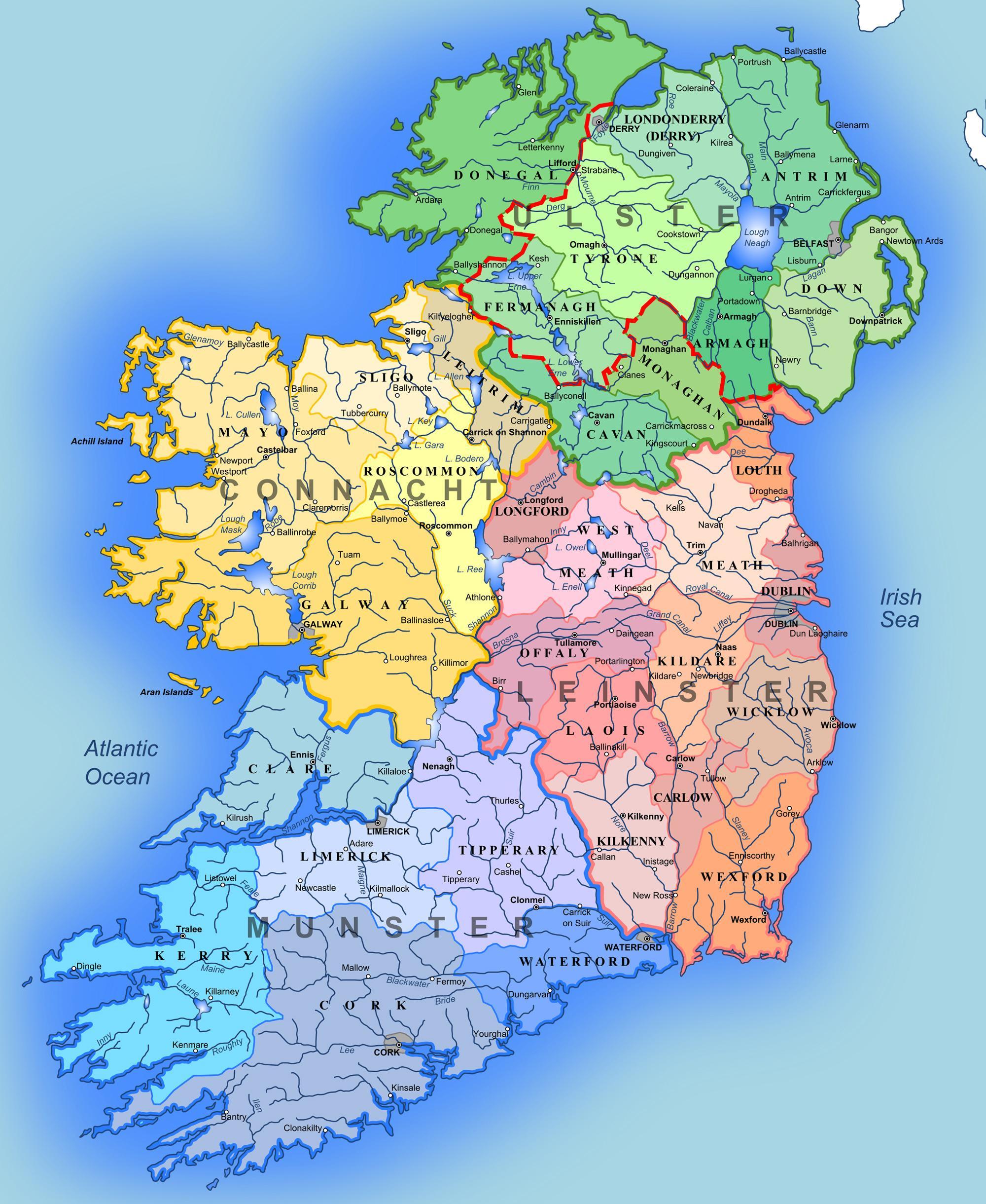 Grote Kaart Van Ierland Grote Gedetailleerde Kaart Van Ierland