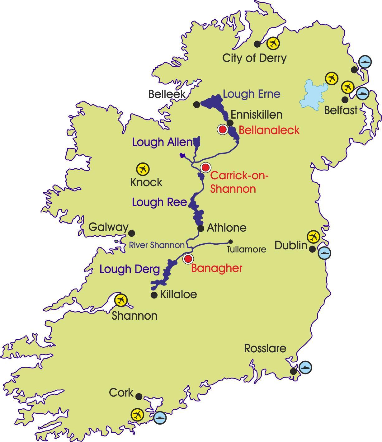 Ierland Rivier De Kaart Kaart Van Ierland Rivieren En Bergen