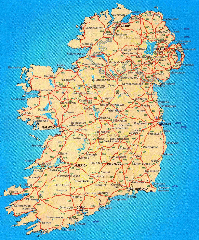 Ierland Wegen Kaart Gratis Wegenkaart Van Ierland Noord Europa