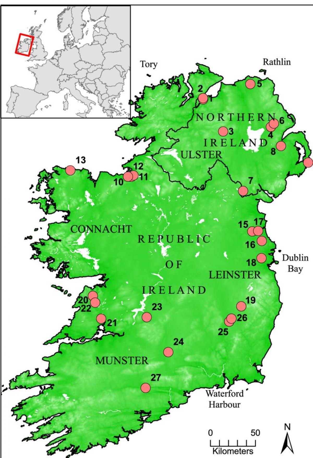 Rivieren Van Ierland Kaart Kaart Van Ierland Tonen Rivieren